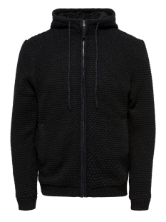 Only & Sons Vest onsKENNETH 12 TEDDY  FULL ZIP KNIT 22011517 Black