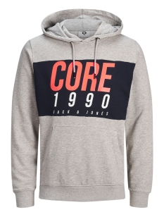 Jack & Jones sweater JCOJONAH SWEAT HOOD LS NOOS 12146143 Light Grey Melange/SCAN PRINT