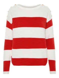 Vero Moda Trui VMSETHE LS BOATNECK  BLOUSE BOO 10207960 Snow White/FIERY RED