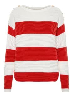 vmsethe ls boatneck  blouse boo 10207960 vero moda trui snow white/fiery red