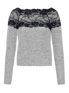 Vero Moda Trui VMCIMA LACE LS BLOUSE 10205034 Light Grey Melange/W. BLACK LA
