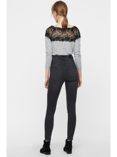 vmcima lace ls blouse 10205034 vero moda trui light grey melange/w. black la
