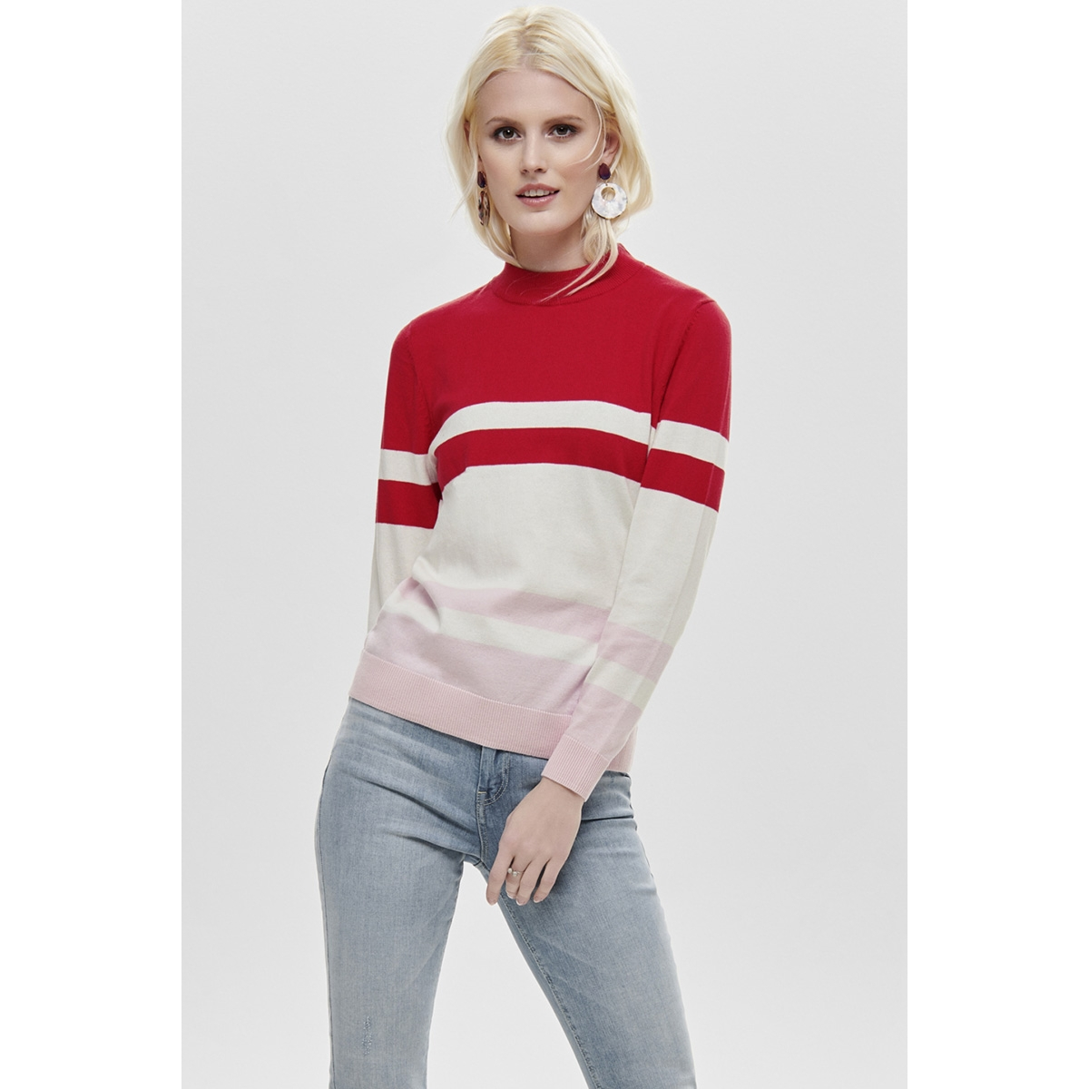 onlrosemarie l/s pullover knt 15168922 only trui goji berry/w.cloud d