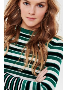 onllaura l/s stripe  pullover cc kn 15170963 only trui cadmium green/w. black