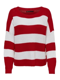 Only Trui onlCAMPOS L/S OVERSIZE PULLOVER KNT 15160868 High Risk Red/W. CLOUD DANCER