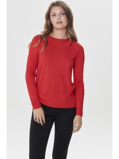 onlmila lacy l/s pullover knt noos 15150242 only trui high risk red