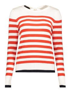 Vero Moda Trui VMDOSS LACOLE LS O-NECK BLOUSE BOO 10207952 Snow White/W. FIERY RED