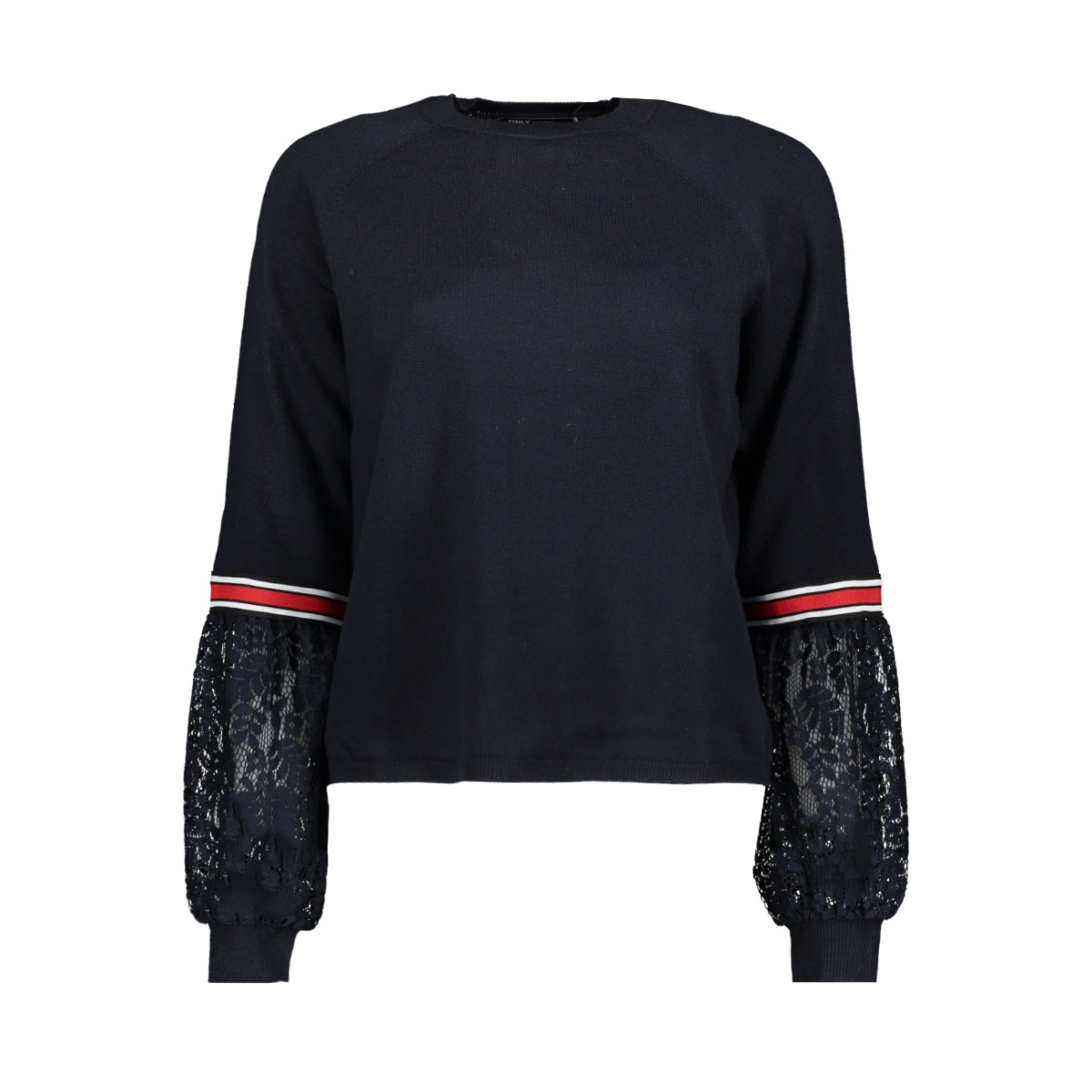 onlkaja l/s pullover knt 15170604 only sweater night sky/w dtm lace