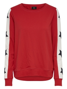 onlpil l/s o-neck cs swt 15174189 only sweater mars red/star on