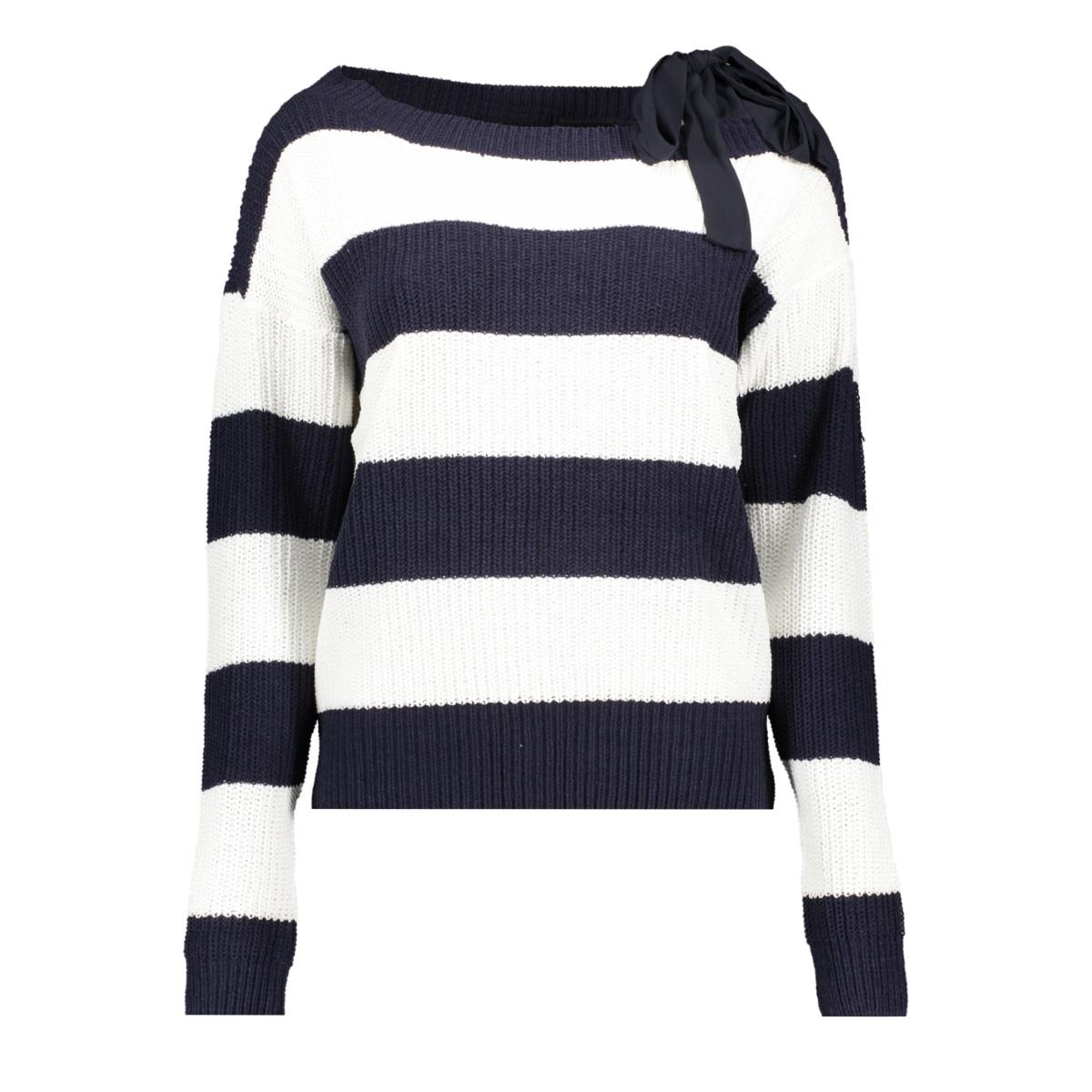 vmspring sibbo ls bow blouse 10209811 vero moda trui snow white/w. night sky