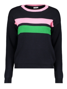 nmnew palma l/s knit x3 27007284 noisy may trui night sky/sachet pink