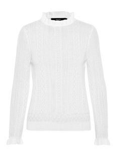 vmastia ls ruffleneck blouse 10210542 vero moda trui snow white