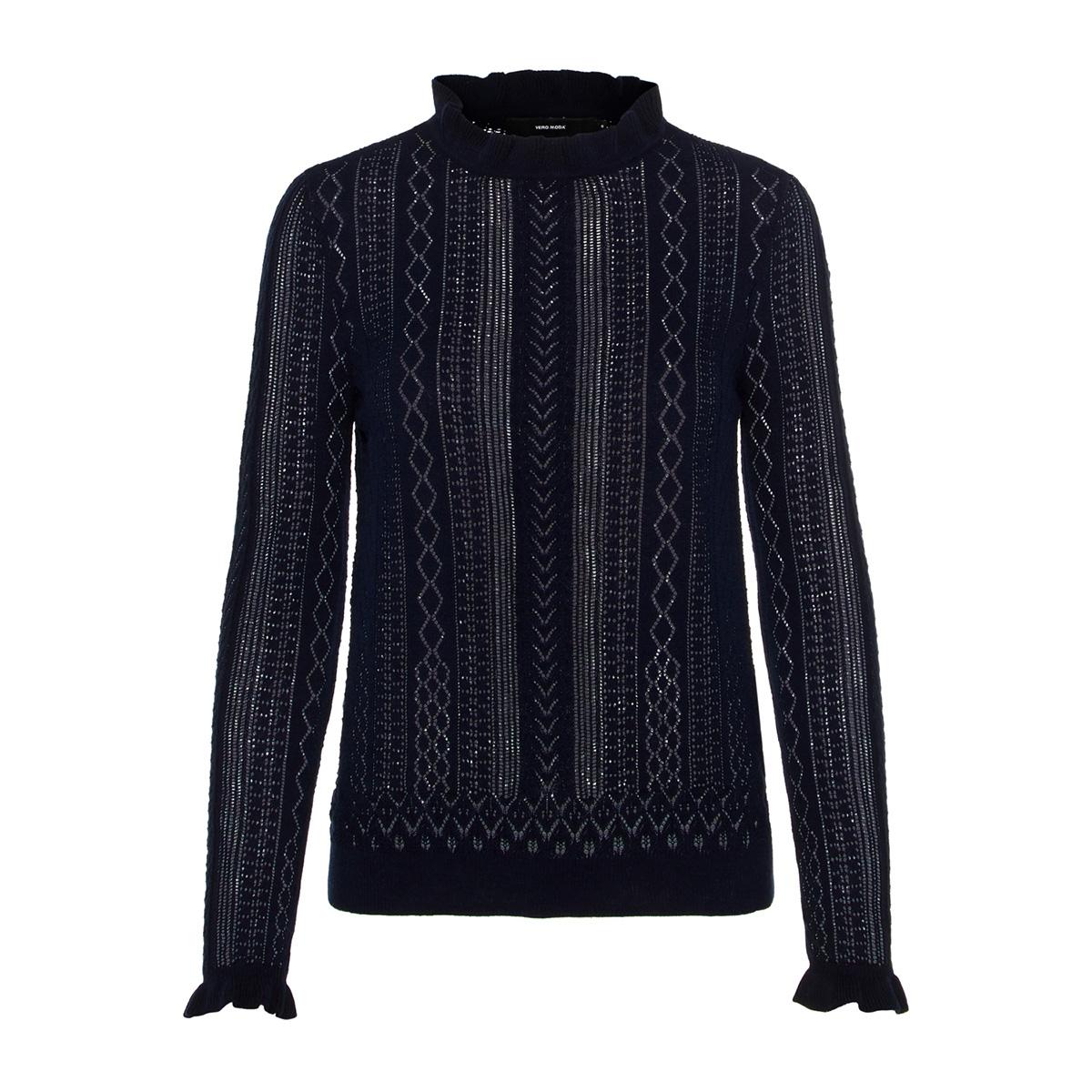 vmastia ls ruffleneck blouse 10210542 vero moda trui night sky