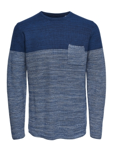 onslenny 12 pocket structure knit 22012100 only & sons trui dress blues