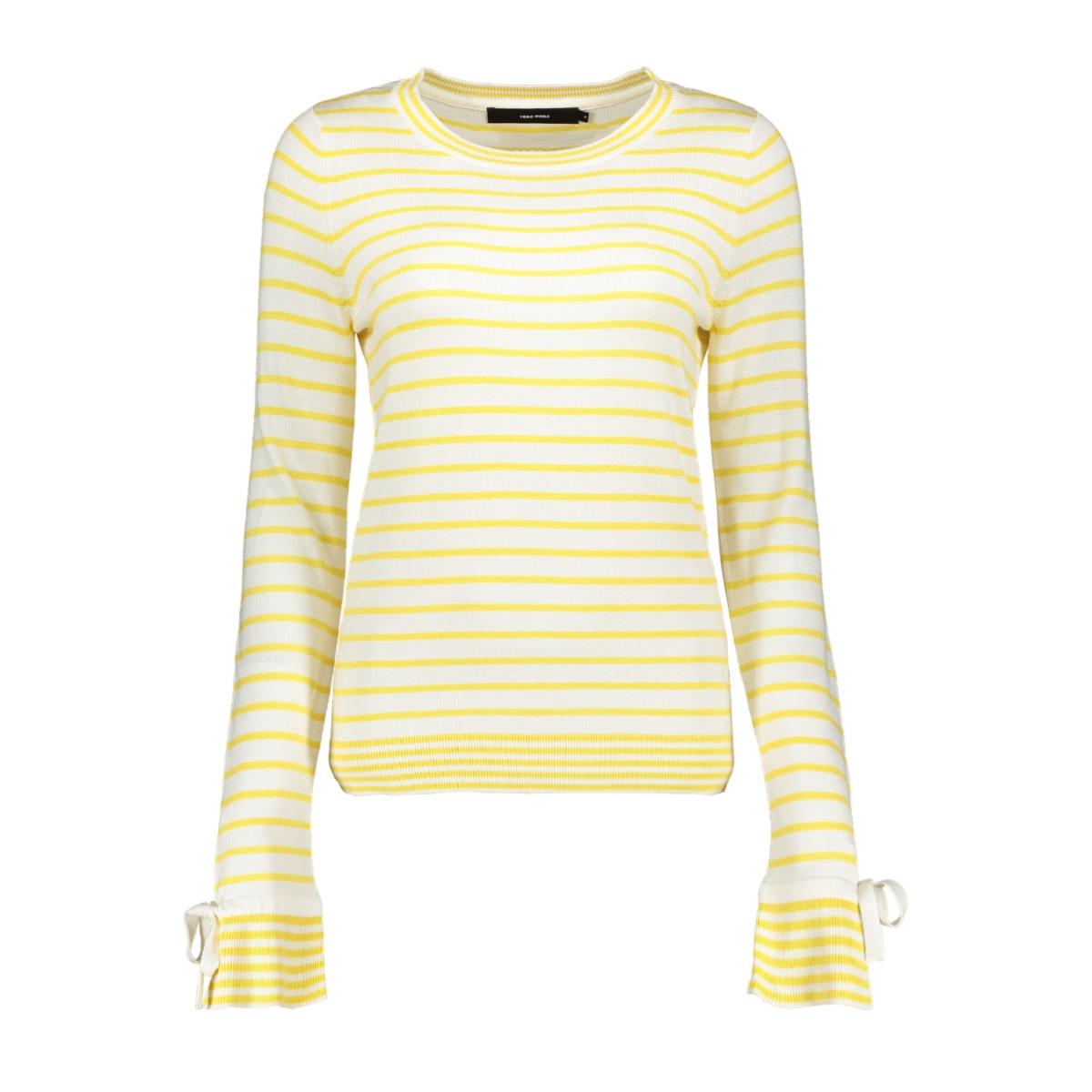 vmdoss lacole ls o-neck blouse 10209957 vero moda trui snow white/w. yarrow