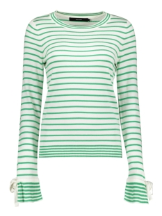 Vero Moda Trui VMDOSS LACOLE LS O-NECK BLOUSE 10209957 Snow White/W. HOLLY GREEN