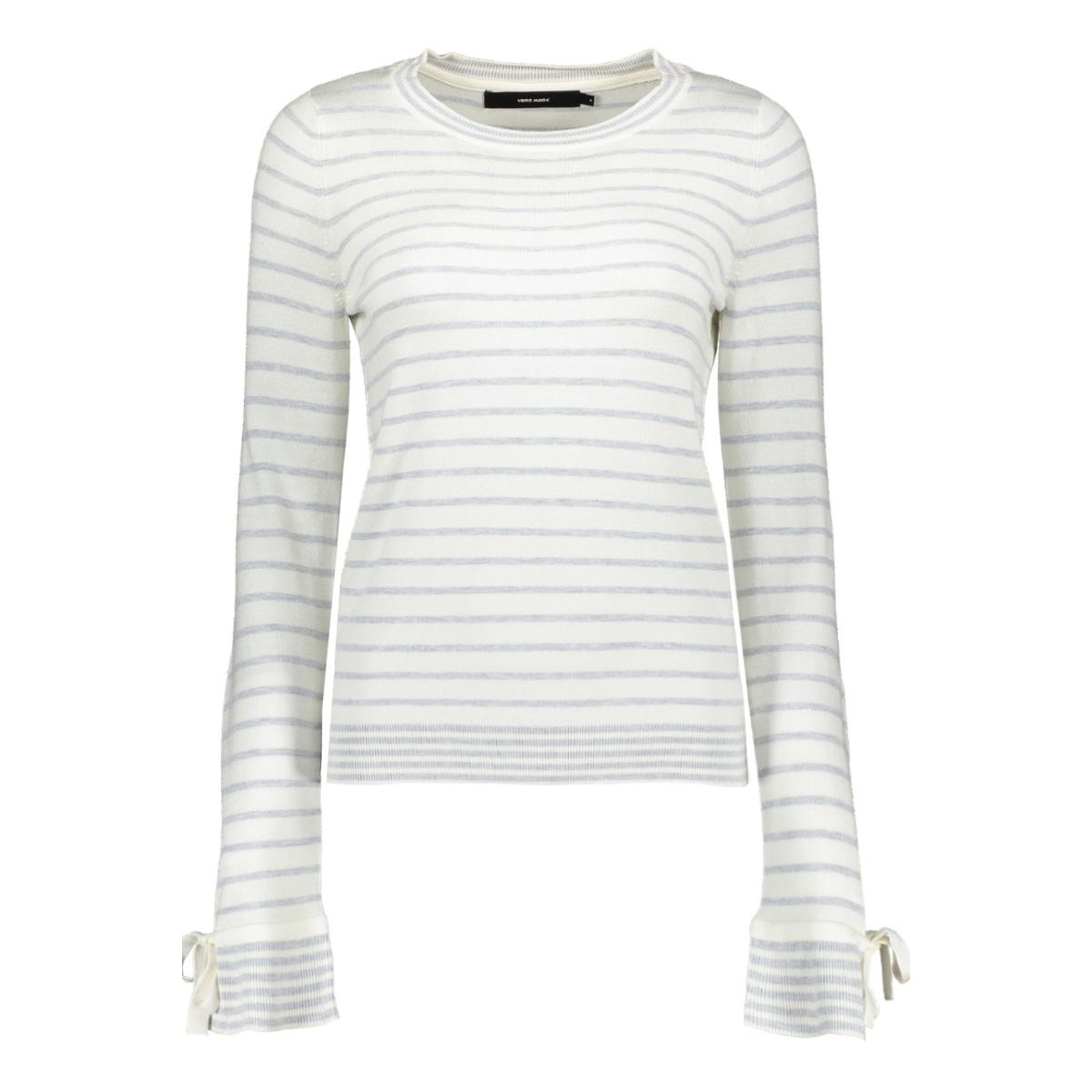 vmdoss lacole ls o-neck blouse 10209957 vero moda trui snow white/w. lgm stripes