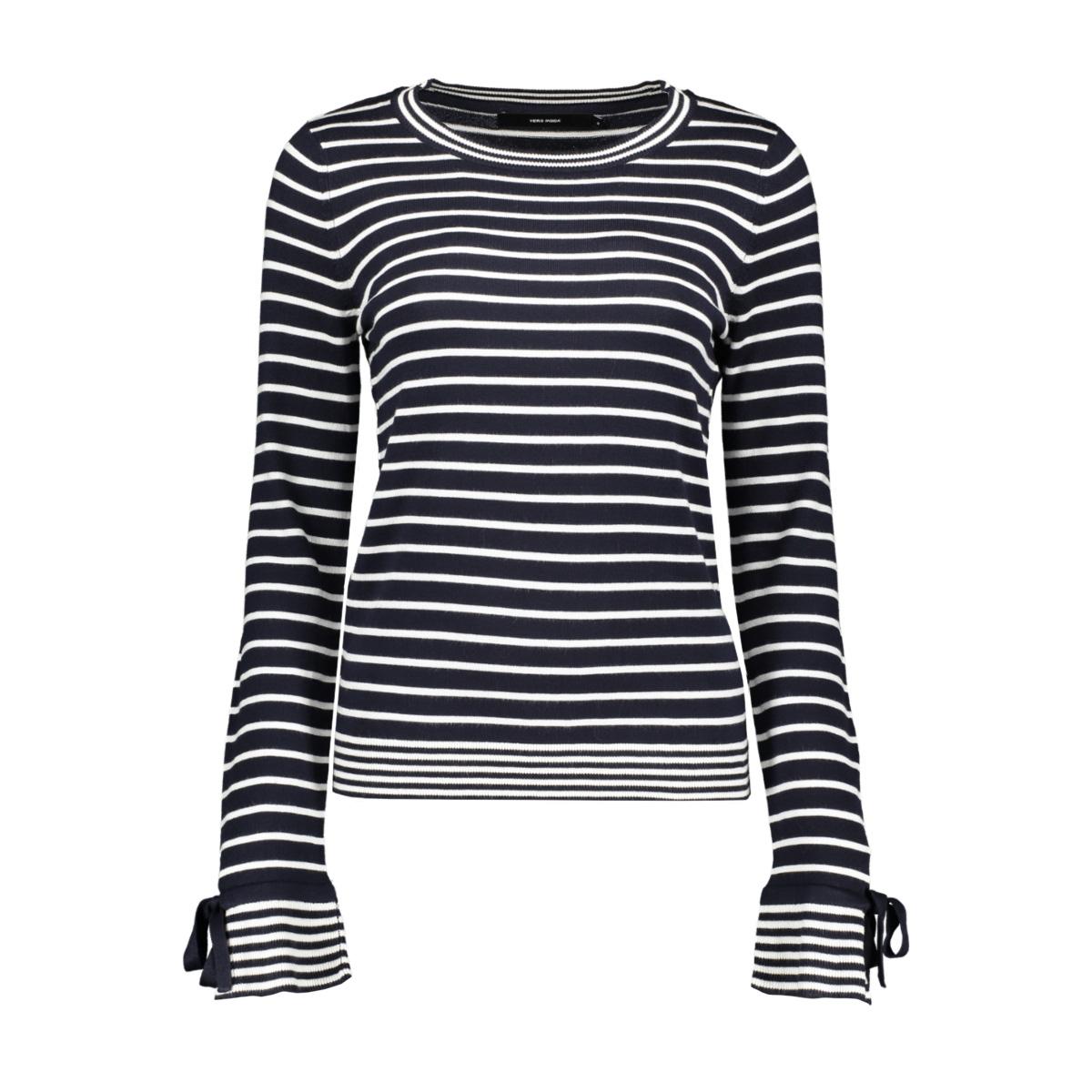vmdoss lacole ls o-neck blouse 10209957 vero moda trui night sky/w. snow white