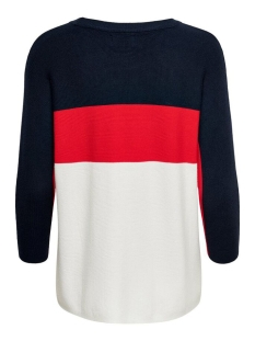 onlregitze 3/4 pullover knt noos 15157863 only trui night sky/high risk red