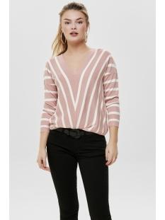 onlaya 7/8 v-neck pullover knt noos 15175007 only trui misty rose/w. cloud dancer