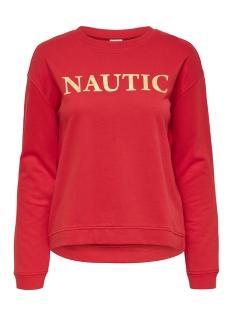 Jacqueline de Yong sweater JDYBOWIE L/S PRINT SWT 15168761 Fiery Red/NAUTIC