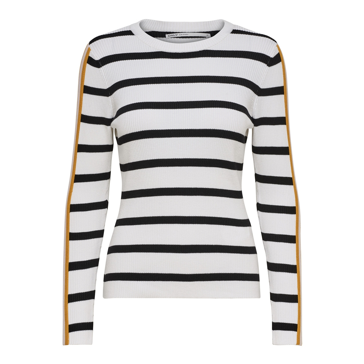 onlthia l/s pullover knt 15172361 only trui bright white/w. black