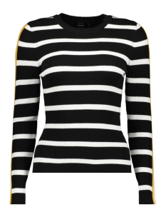 onlthia l/s pullover knt 15172361 only trui black/w. bright white