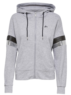 Only Play Sport vest onpISABELLA LOOSE HOOD ZIP SWEAT 15165922 Light Grey Melange/W. BLACK