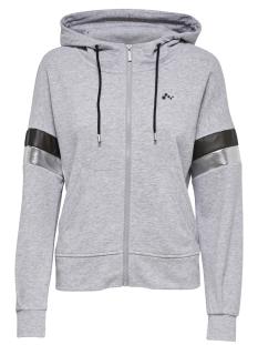 Only Play Sport vest onpISABELLA LOOSE HOOD ZIP SWEAT 15165922 Light Grey Melange/W. BLACK