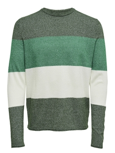 Only & Sons Trui onsTED 12  MULTI  KNIT 22008711 Dark Green/STRIPED