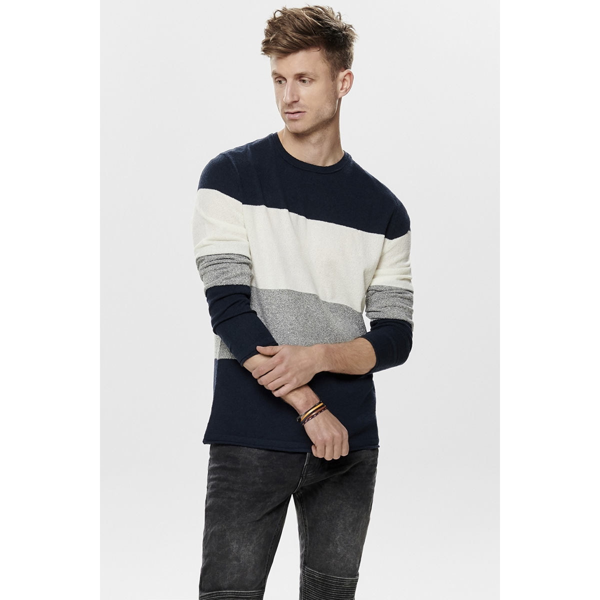 onsted 12  multi  knit 22008711 only & sons trui dress blues/striped