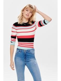 onlsif l/s o-neck pullover knt 15170576 only trui black/w. geranium
