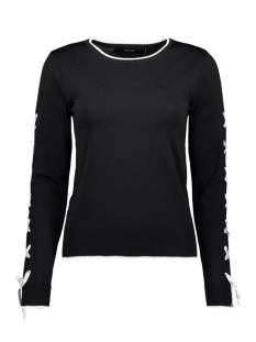 Vero Moda Trui VMAPO TIE LS O-NECK BLOUSE REP 10213945 Black/ W. SNOW WHITE