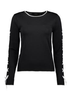 vmapo tie ls o-neck blouse rep 10213945 vero moda trui black/ w. snow white