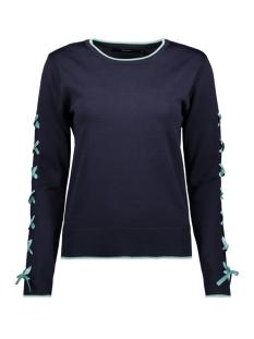 vmapo tie ls o-neck blouse rep 10213945 vero moda trui night sky/ w. wasabi