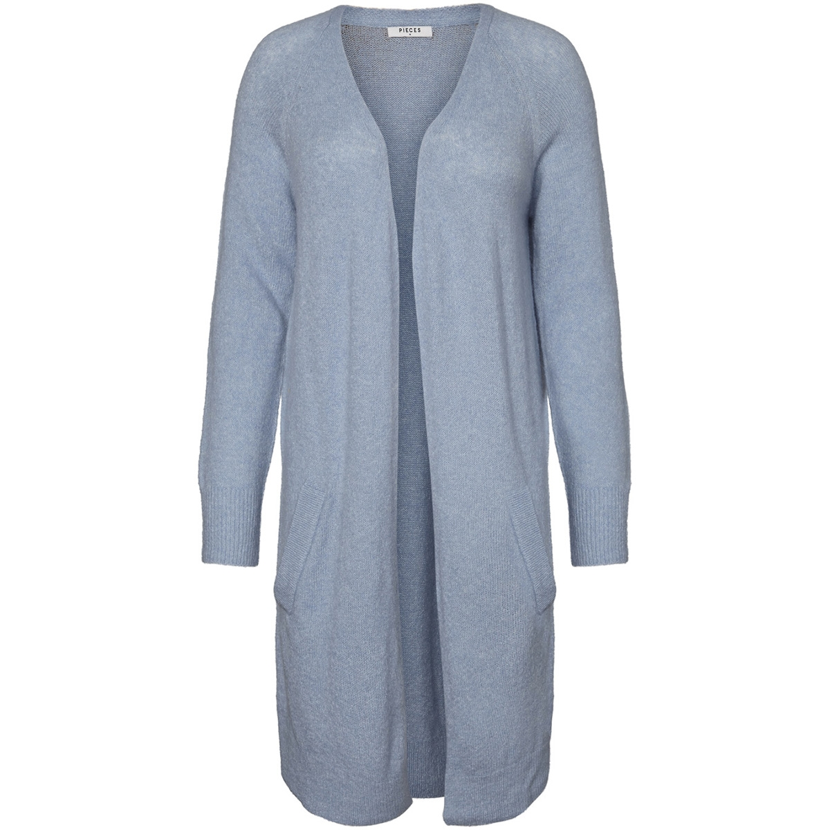 pcjane ls long wool cardigan noos 17082985 pieces vest dusty blue/ melange