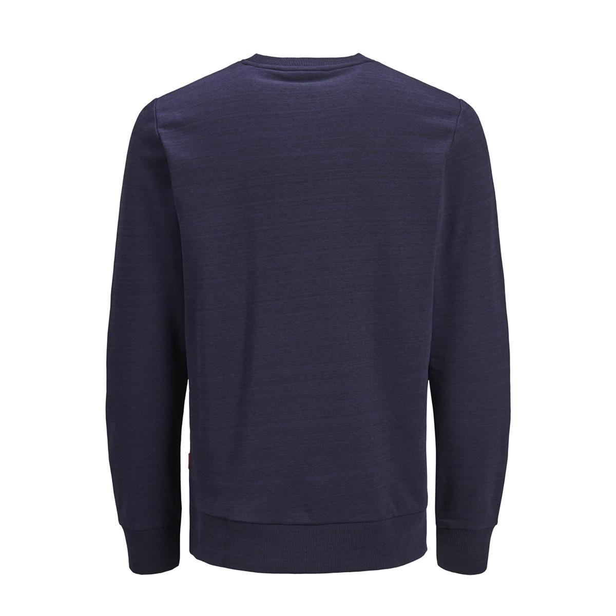 jcopainted sweat crew neck 12153964 jack & jones sweater maritime blue/w. black