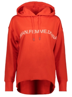 Vero Moda sweater VMWOMAN CIDA LS  HOOD SWEAT VMA 10212980 Fiery Red/WHITE WOMAN