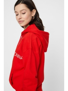 vmwoman cida ls  hood sweat vma 10212980 vero moda sweater fiery red/white woman