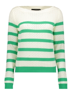 Vero Moda Trui VMSCORE STRIPE LS BLOUSE 10210007 Snow white/HOLLY GREEN