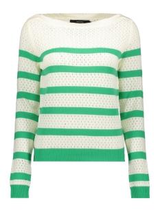vmscore stripe ls blouse 10210007 vero moda trui snow white/holly green