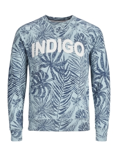 Produkt sweater PKTGMS OPEN AOP CREW NECK SWEAT 12149702 Stone Blue/MELANGE