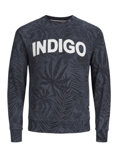Produkt sweater PKTGMS OPEN AOP CREW NECK SWEAT 12149702 Navy Blazer/MELANGE