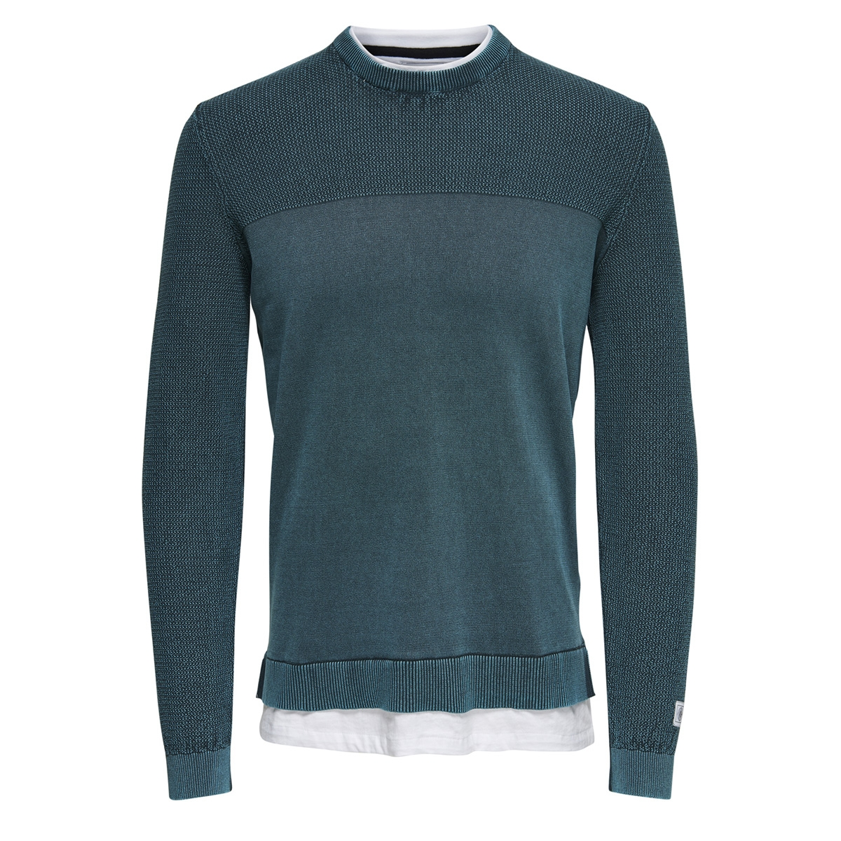 onspage 12 washed mix knit 22012496 only & sons trui majolica blue
