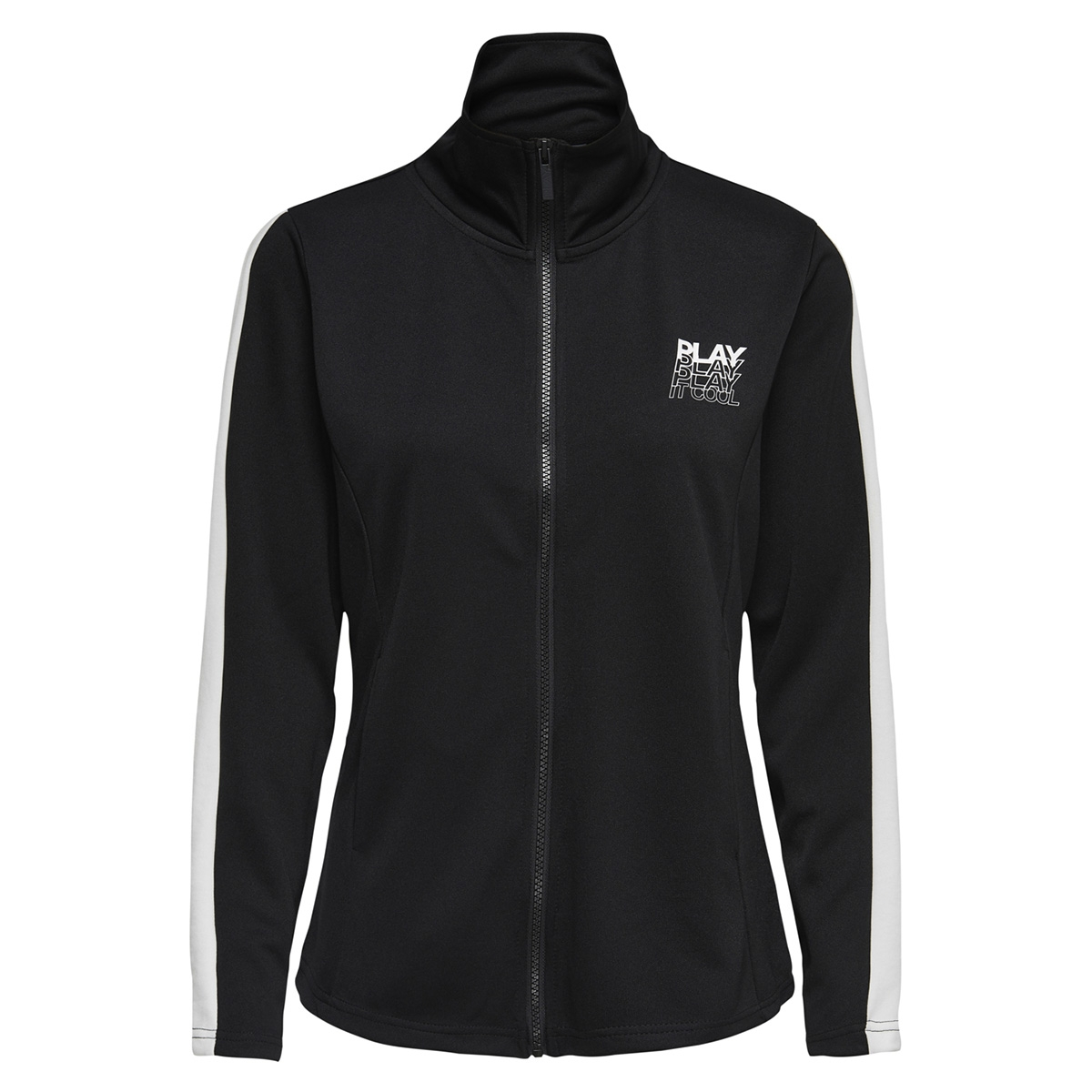 onphermosa fitted highneck zip swea 15170223 only play sport vest black/w. white