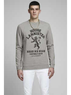 jorgot sweat crew neck 12162537 jack & jones sweater light grey mela/reg