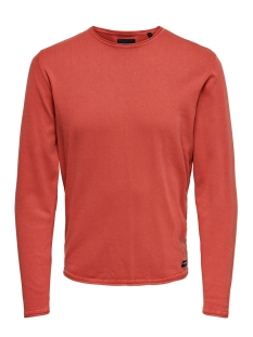 onsgarson wash crew neck knit noos 22006806 only & sons trui aura orange