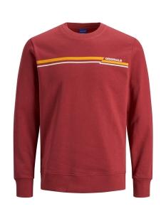 jorrudd sweat crew neck 12158106 jack & jones sweater brick red/slim