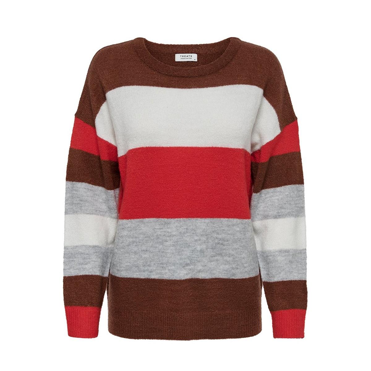 jdynora treats l/s noos pullover kn 15176704 jacqueline de yong trui smoked paprika/stripe