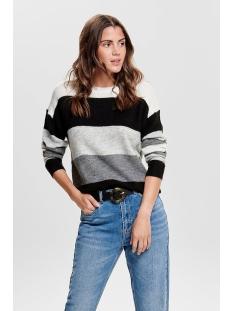 jdynora treats l/s noos pullover kn 15176704 jacqueline de yong trui dark grey melan/stripe